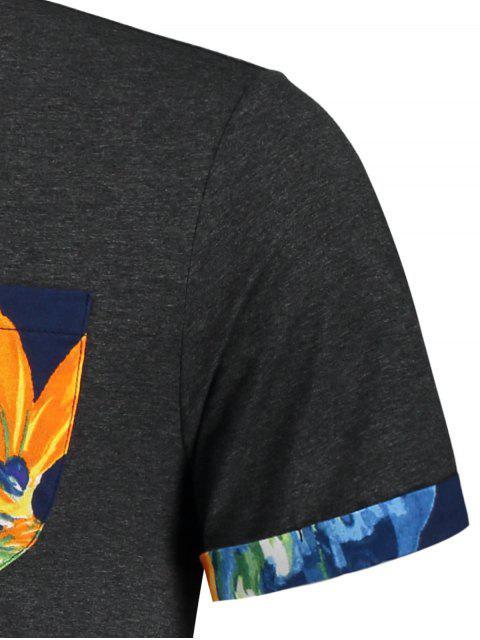 T-shirt à imprimé floral - Gris Foncé XL Mobile