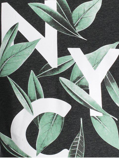 trendy Leaf Printed Graphic Tee - DEEP GRAY L Mobile