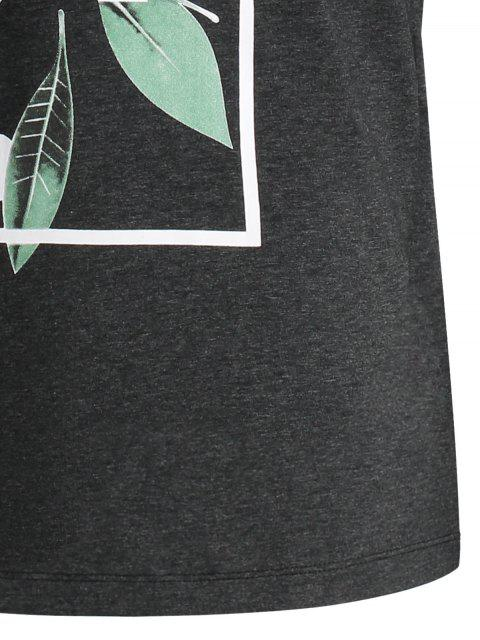 fashion Leaf Printed Graphic Tee - DEEP GRAY XL Mobile