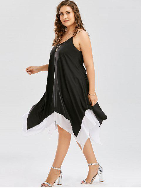sale Plus Size Two Tone Handkerchief Dress - WHITE AND BLACK 3XL Mobile