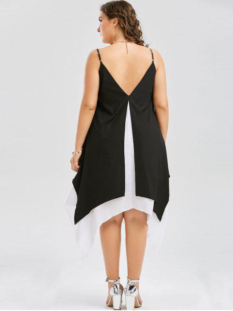 buy Plus Size Two Tone Handkerchief Dress - WHITE AND BLACK 5XL Mobile