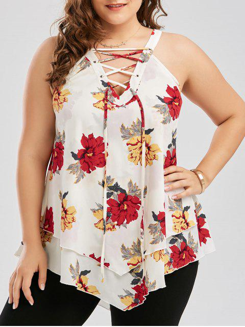 new Plus Size Floral Layered Lace Up Blouse - WHITE 3XL Mobile