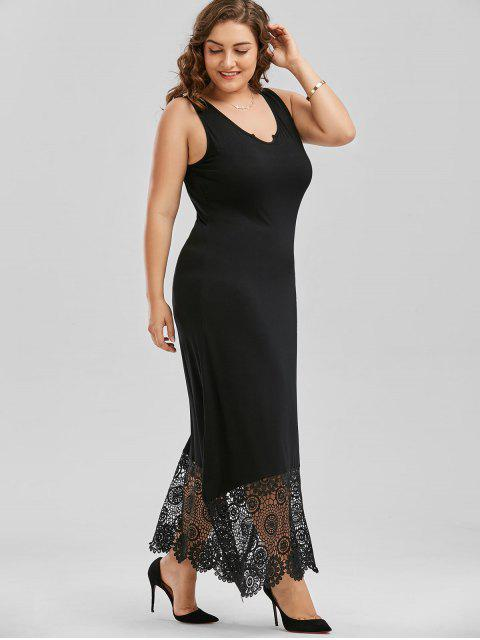 women Scalloped Plus Size Maxi Lace Panel Dress - BLACK 2XL Mobile