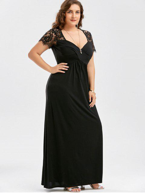 best Plus Size Empire Waist Lace Panel Dress - BLACK XL Mobile