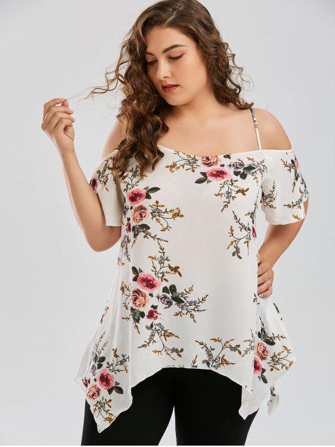 affordable Plus Size Dew Shoulder Tiny Floral Blouse - WHITE 2XL Mobile