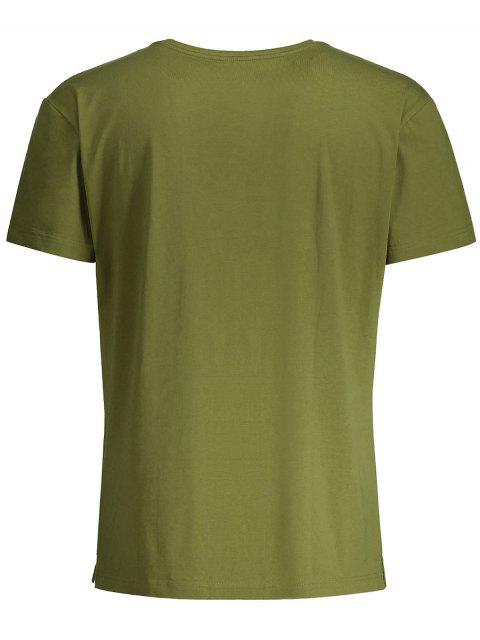 fancy Short Sleeve Floral Embroidered Tee - ARMY GREEN XL Mobile