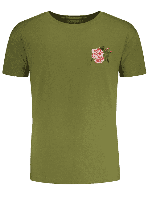 sale Short Sleeve Floral Embroidered Tee - ARMY GREEN M Mobile