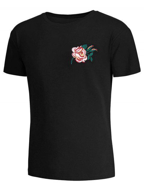 T-shirt manches courtes avec broderie florale - Noir M Mobile