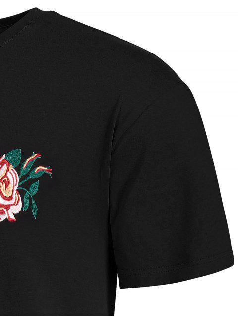 latest Short Sleeve Floral Embroidered Tee - BLACK L Mobile