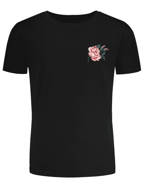 fashion Short Sleeve Floral Embroidered Tee - BLACK 2XL Mobile