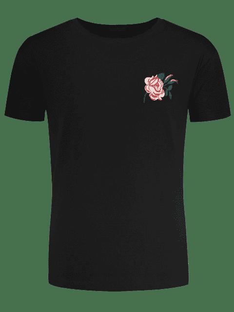 T-Shirt mit Kurzen Hülsen und Blumenstickerei - Schwarz 2XL Mobile