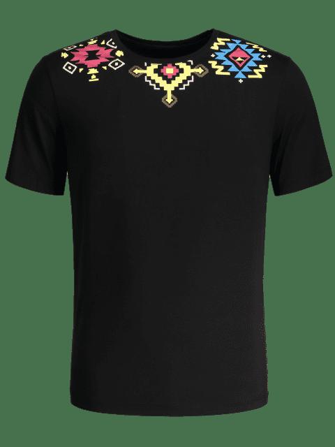 Camiseta con estampado geométrico - Negro XL Mobile