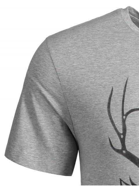 lady Short Sleeve Reindeer Printed Tee - GRAY M Mobile