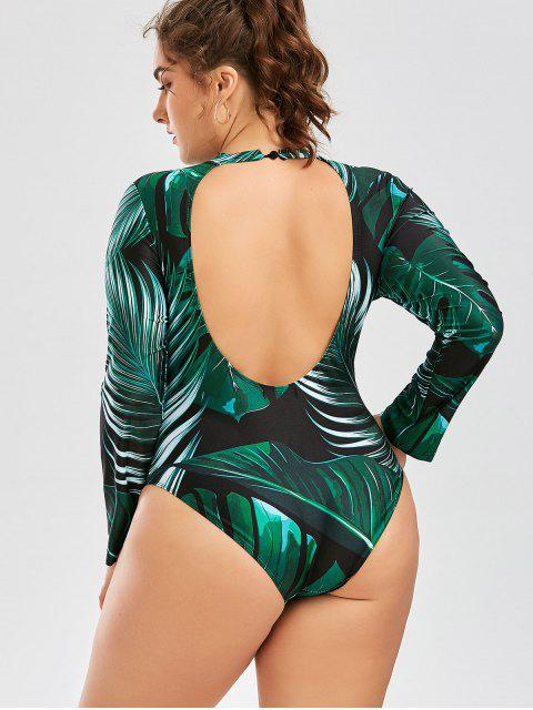 affordable Palm Leaf Print One Piece Plus Size Swimsuit - DEEP GREEN 2XL Mobile