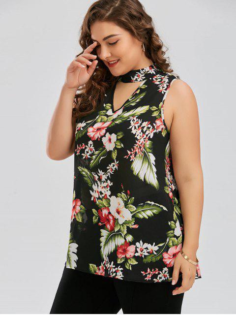 fashion Plus Size Keyhole Neck Floral Hawaiian Blouse - GREEN 4XL Mobile