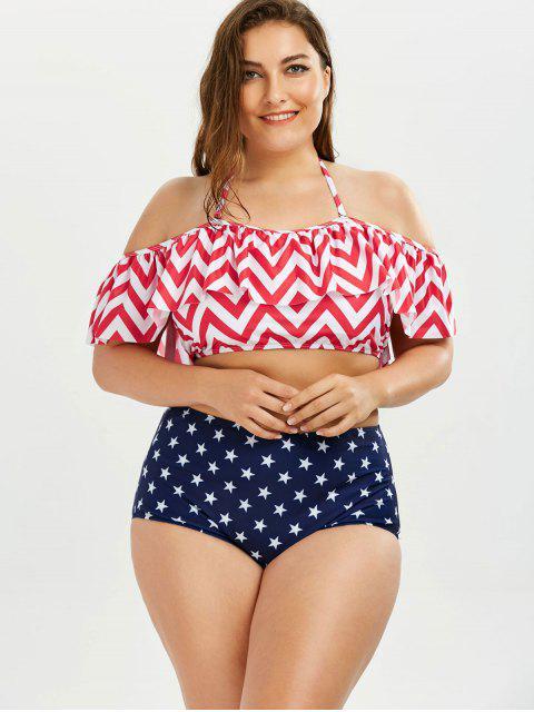 Chevron Star Print Plus Size Halter Bikini - Multicolore 2XL Mobile