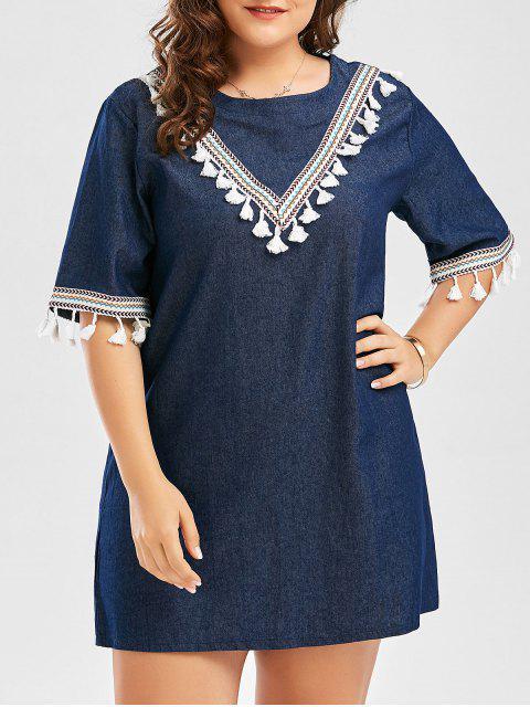 Plus Size gestickte Quaste Bauern Mini Kleid - Schwarzblau 4XL Mobile
