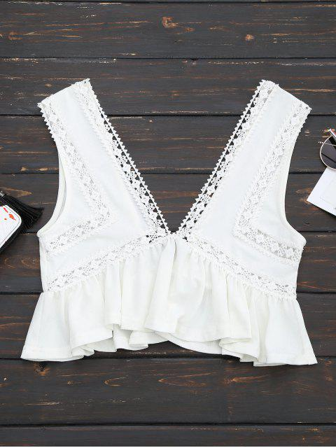 fashion Ruffles Lace Trim Cropped Tank Top - WHITE M Mobile
