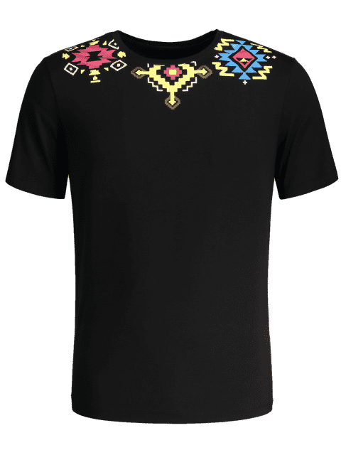 chic Geometric Printed Tee - BLACK M Mobile