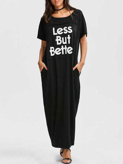 فستان زائد الحجم طباعة الحرف ماكسي - أسود M