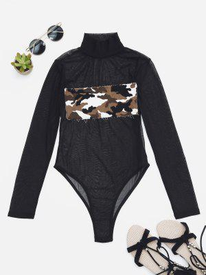Sheer Mesh Patch Front One Piece Swimsuit - Camouflage Xs