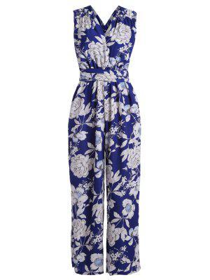 Combinaison à Motif Floral Et à Col Plogeant - Bleu S