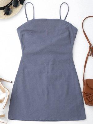 High Cut Bowknot Mini Slip Dress - Gray 2xl