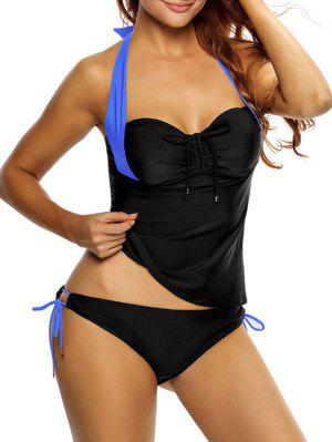 Tankini Top Y Loop Tie Side Bottoms - Azul Y Negro Xl