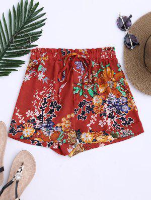 Shorts  à Cordes à Motif Floral Bohémien - Tangerine S