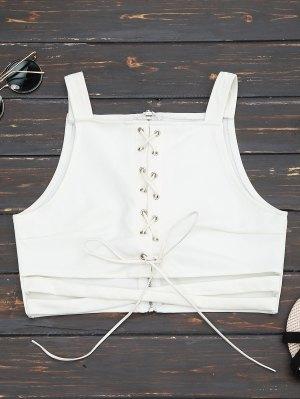 Criss Cruz Cropped Lace Up Tank Top - Blanco L