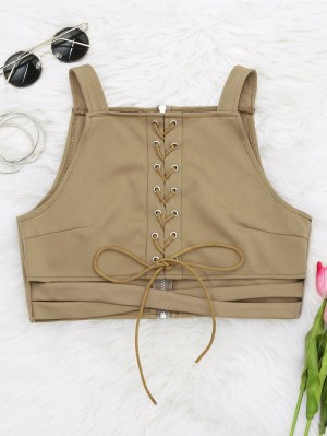 Criss Cross Cropped Lace Up Tank Top - Khaki S