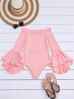 Trumpet Sleeve Off The Shoulder Bodysuit - Pink M