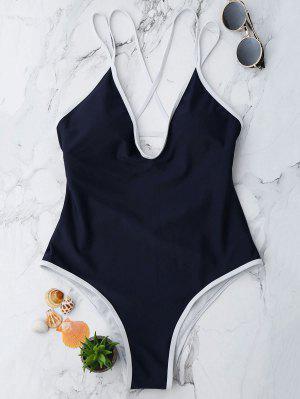 Maillot De Bain Une Pièce Paddée Taille Haute à Lanières Couleur Contraste - Bleu Violet M