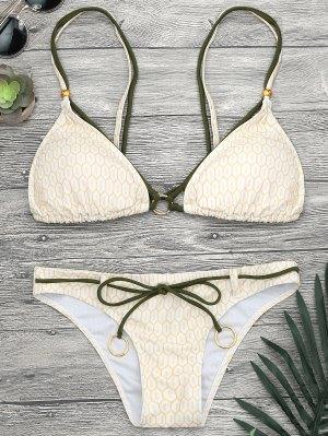 Anillos De Impresión De Mosaico Strappy Bikini Set - Amarillo L