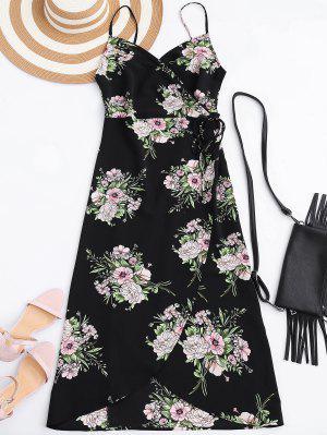 Vestido Envuelto Floral Con Tirantes Finos - Negro L