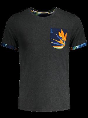 T-shirt à Poche Imprimée Florale