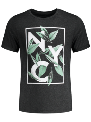 Leaf Printed Graphic Tee - Deep Gray L