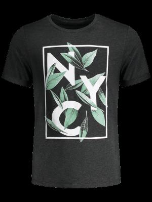 T-shirt imprimé feuille et graphique