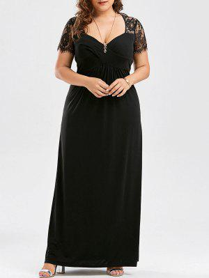 Vestido De Tafetán De Encaje Con Talla Grande - Negro 2xl