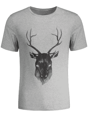 Short Sleeve Reindeer Printed Tee - Gray M