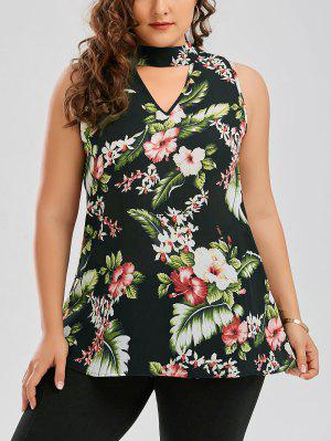 Plus Size Keyhole Neck Floral Hawaiian Blouse