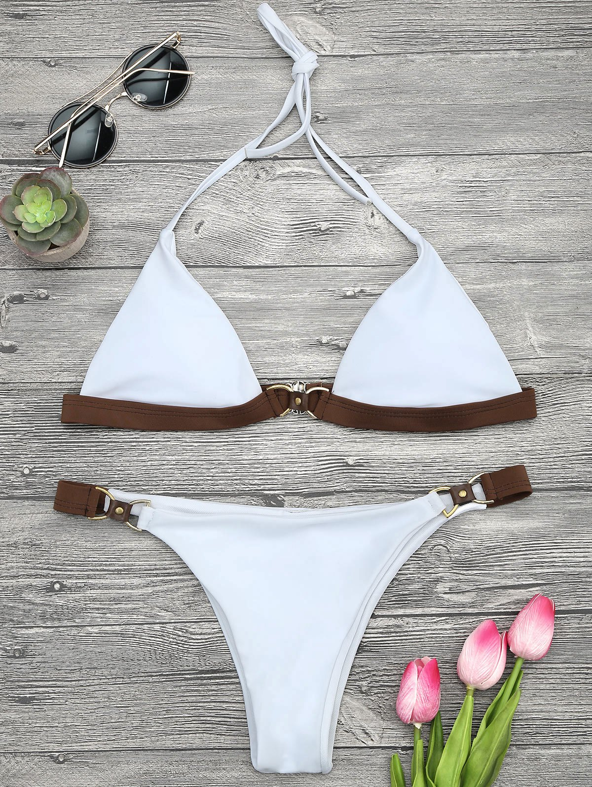 Soft Pad Color Block Halter Bikini Set 214668601