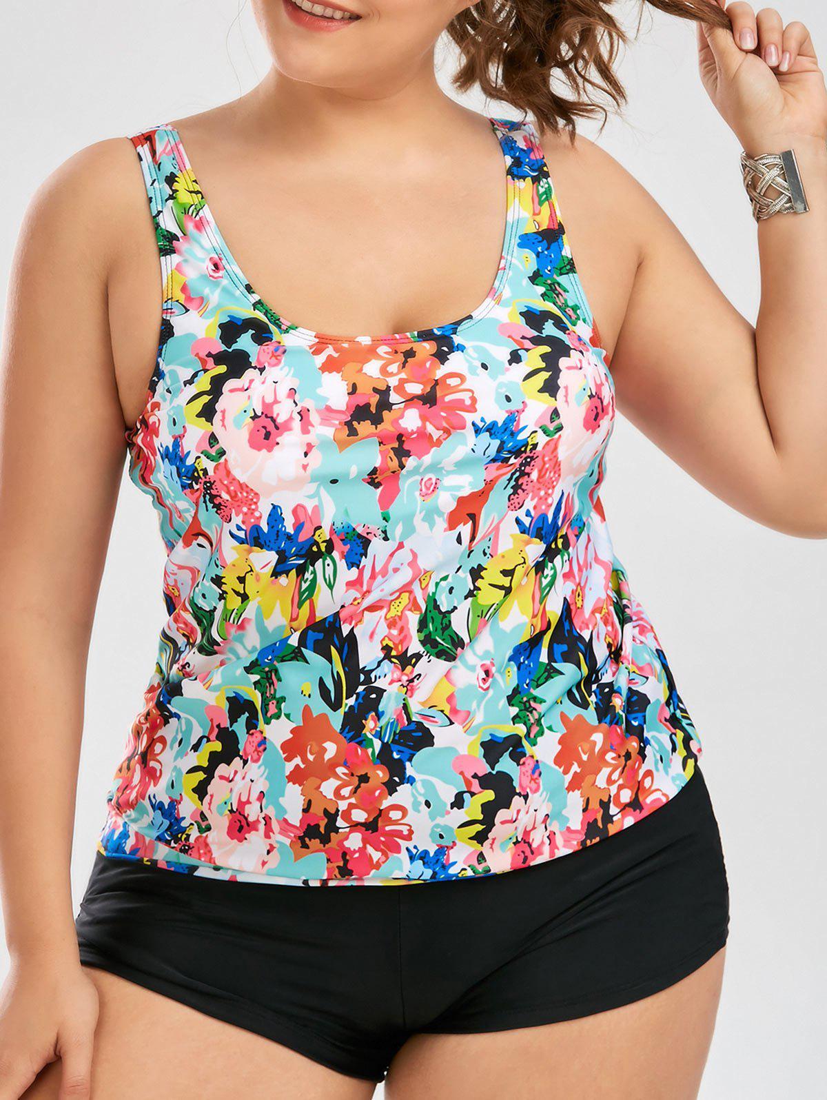 Plus Size Floral Blouson Tankini Set 213836301