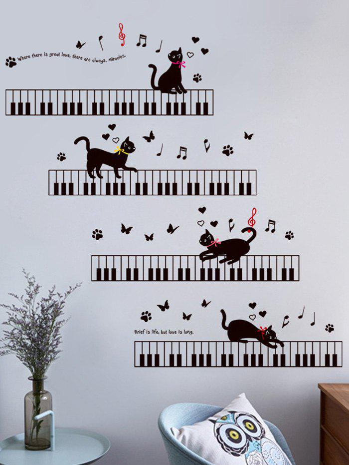 Cartoon Cat Piano Removable Wall Sticker For Kids 214686001