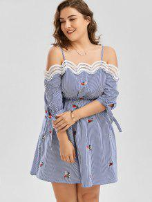 45c868d0154 27% OFF  2019 Embroidery Plus Size Striped Slip Dress In BLUE STRIPE ...