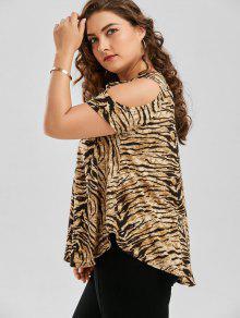 908c70f366 32% OFF  2019 Plus Size Tiger Printed Cold Shoulder T-Shirt In TIGER ...