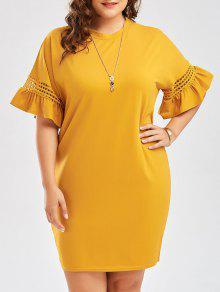 فستان تيه الحجم الكبير قطع توهج الأكمام - زنجبيل 4xl