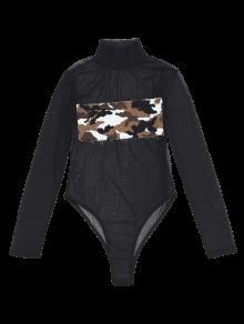 maillot de bain une pi ce en maille transparent avec patch avant camouflage une pi ce l zaful. Black Bedroom Furniture Sets. Home Design Ideas