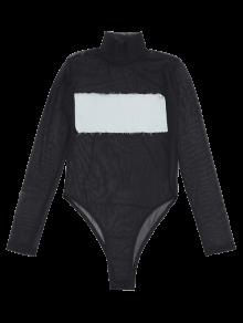 maillot de bain une pi ce en maille transparent avec patch avant gris clair une pi ce xs zaful. Black Bedroom Furniture Sets. Home Design Ideas