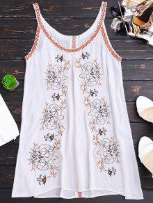 فستان مطرز الشريط - أبيض L